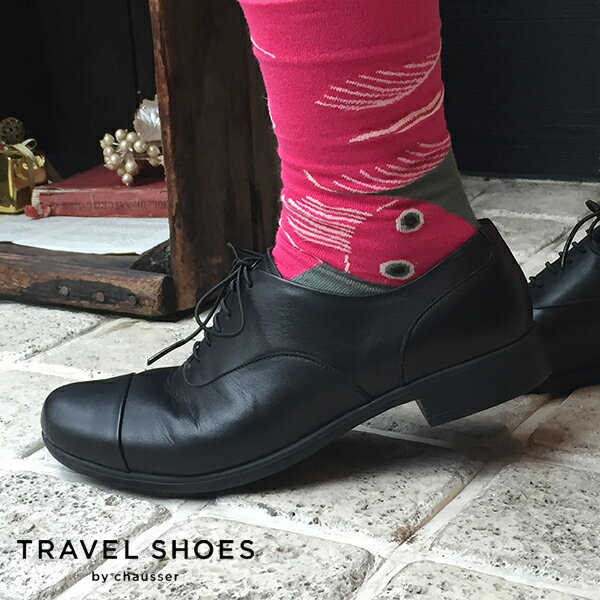 【2018春夏】TRAVEL SHOES by chausser(トラベルシューズバイショセ)|TR-001|ストレートチップマニッシュシューズ|ブラック|マニッシュシューズ|レディース|おじ靴|ground|靴