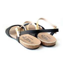 【2017春夏】PLAKTON/プラクトン575351クロスアンクルストラップサンダルブラック×ゴールド ground 靴 