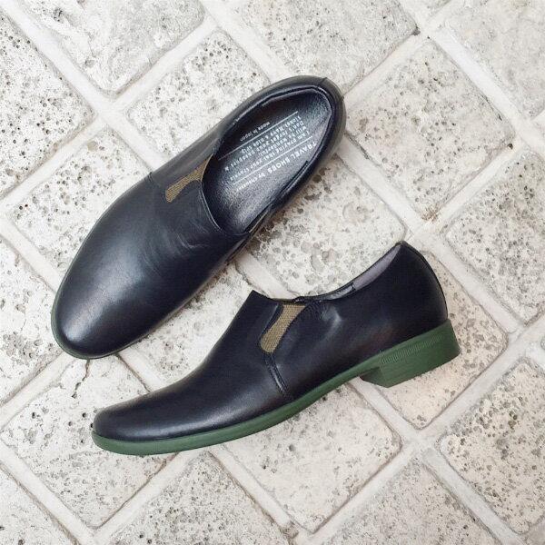 【送料無料】TRAVEL SHOES by chausser(トラベルシューズバイショセ) TR-003 サイドゴアスリッポン ブラック×カーキ|ground|靴|