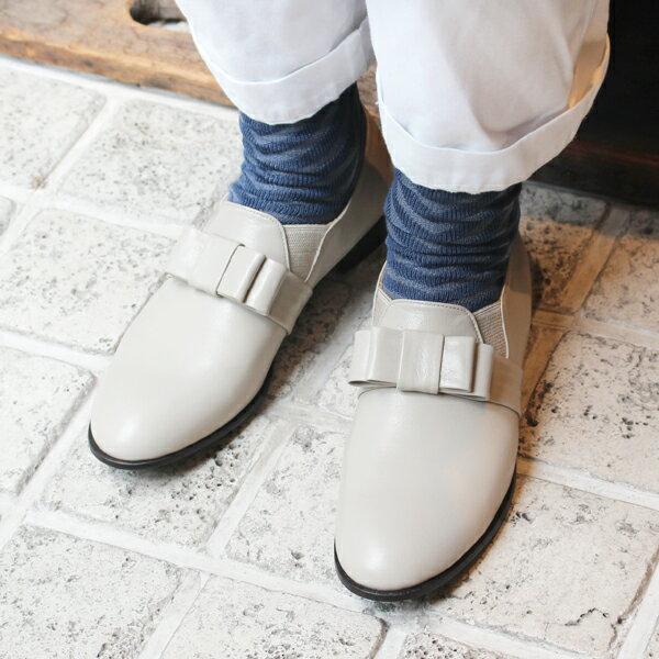 【送料無料】chausser/ショセ C-2252 リボン付きマニッシュシューズ ライトグレイ|ground|靴|