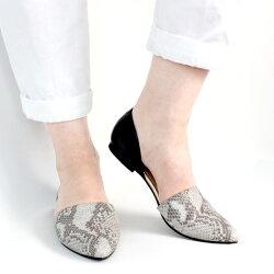 【2017春夏】L'avenue/ラヴェニューP16s12セパレートフラットパンプスパイソン×ブラック|ground|靴|