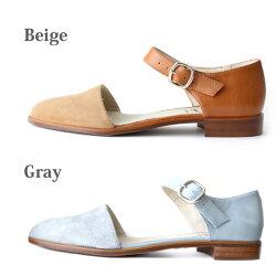 【2017春夏】L'avenue/ラヴェニューZ599バイカラーアンクルベルトストラップサンダルグレイ|ground|靴|