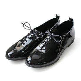 【2018秋冬】L'avenueラヴェニュー101レースアップフラットシューズエナメルブラックground靴