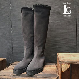 LucaGrossiルカグロッシE202T ロングムートン ブーツ ブラック ロングブーツ ground 靴 再入荷 レビューキャンペーン実施中