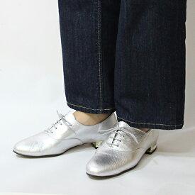 【2018秋冬】L'avenueラヴェニュー18220ビジューヒールレザーマニッシュシューズブラックシルバー内羽根レースアップground靴
