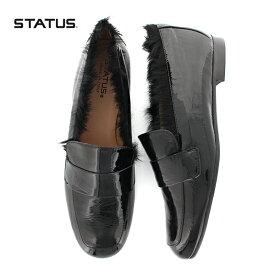【2018秋冬】STATUSステータスM2004PE-Mファースクエアトゥマニッシュシューズブラックファーエナメルシューズローファーモカシンground靴