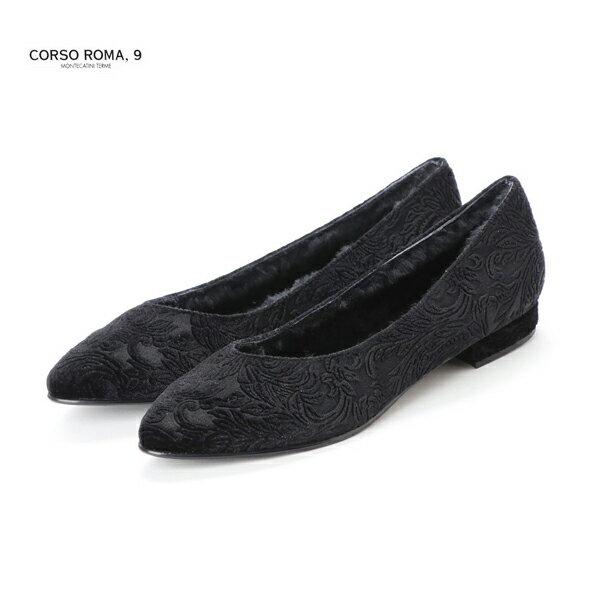 \WINTER SALE 20%OFF/【2018秋冬】CORSO ROMA 9/コルソローマノーヴェ GIANA500 レース刺繍フラットパンプス ベルベット ブラック フラットシューズ|ground|靴|