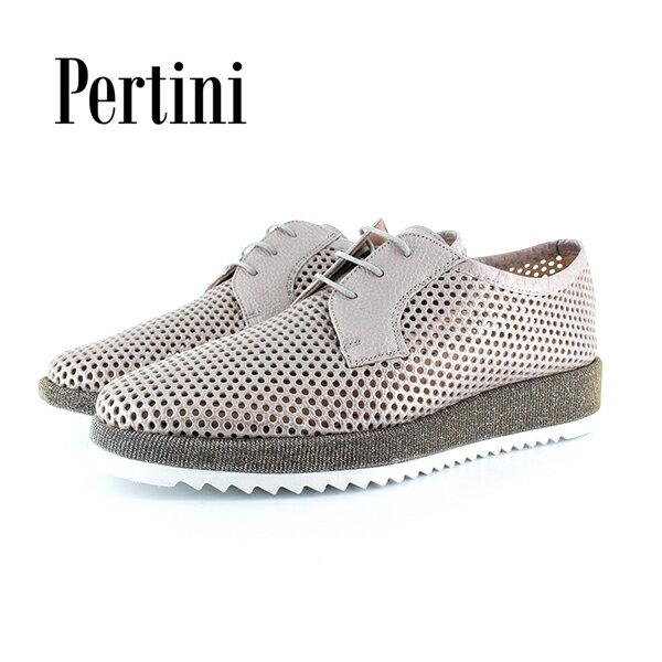 【2018春夏】Pertini/ペルティニ|181W14891|メッシュ外羽根レースアップシューズ|ライトグレー|厚底|マニッシュシューズ|ground|靴|