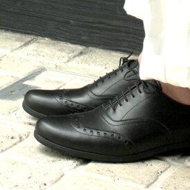 トラベルシューズバイショセTRAVELSHOESbychausser TR-004Mメンズウイングチップシューズ ショセ ブラック メンズドレスシューズ 撥水 ground 靴 レイン 歩きやすい 旅行用 レザー 革 黒 レビューキャンペーン実施中