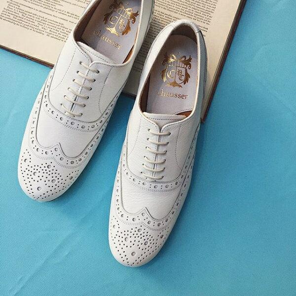 chausser ショセ C-279 WHITE ウィングチップマニッシュシューズ 春物 ground 靴 母の日 クーポン対象