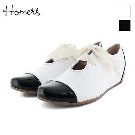 85c3fdb53970 HOMERS ホーマーズ 18548 ストレートチップインヒールシューズ ホワイト ブラック インヒール マニッシュシューズ ground 靴 母の