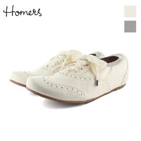 HOMERSホーマーズ18549ウイングチップインヒールシューズホワイトグレークリームカラーインヒールマニッシュシューズground靴 【キャッシュレス5%還元対象】