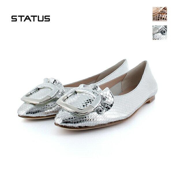 STATUS ステータス H405 オーバルモチーフフラットパンプス ピンク シルバー ground 靴 クーポン