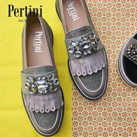Pertini ペルティニ 191W15522 ビジュー付きマニッシュシューズ シルバー ローファー ウイングチップ ground 靴 クーポン配布