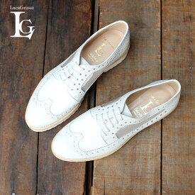 LucaGrossiルカグロッシマニッシュシューズレディース女性用D725Mチュールチュールウイングチップシューズ厚底レザーシューズホワイトground靴 レビューキャンペーン実施中