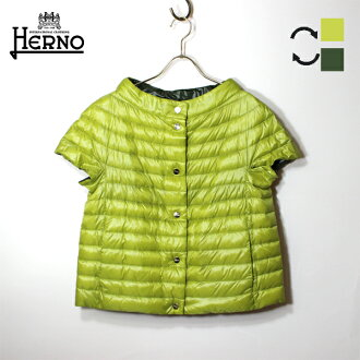 It is ground clothes Mother's Day in HERNO ヘルノライトダウンジャケットレディース PI0902D short sleeve reversible light down light weight down short sleeves reversible mint green mint khaki outer 2019 spring and summer