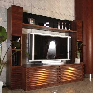 JJシリーズ 204cm テレビ台 フルセット 壁面収納カラー ウォールナット日本製 テレビボード ハイタイプ完成品 TV台 北欧 家具木製 オーディオラック ローボード42インチ 52インチ 対応 200 国産