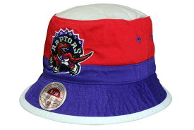 a35166861b3 MITCHELL NESS BUCKET HAT (Color Block Bucket NBA Toronto Raptors  Grey×Red