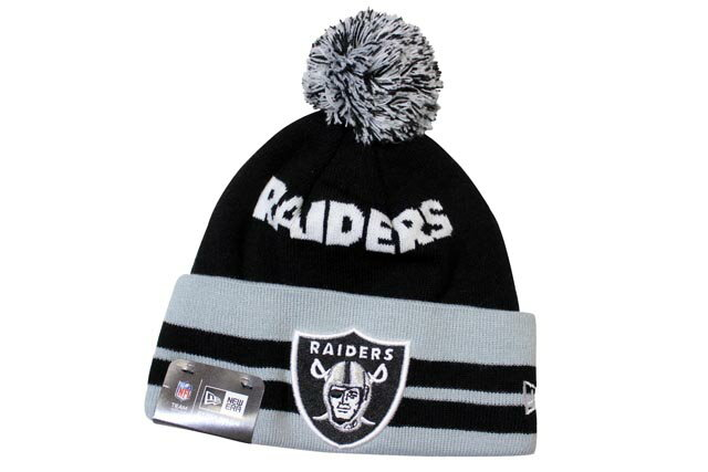 NEW ERA POM KNIT CAP (NFL/Oakland Raiders/812: Black×Grey)ニューエラ/ニットキャップ/黒×グレー