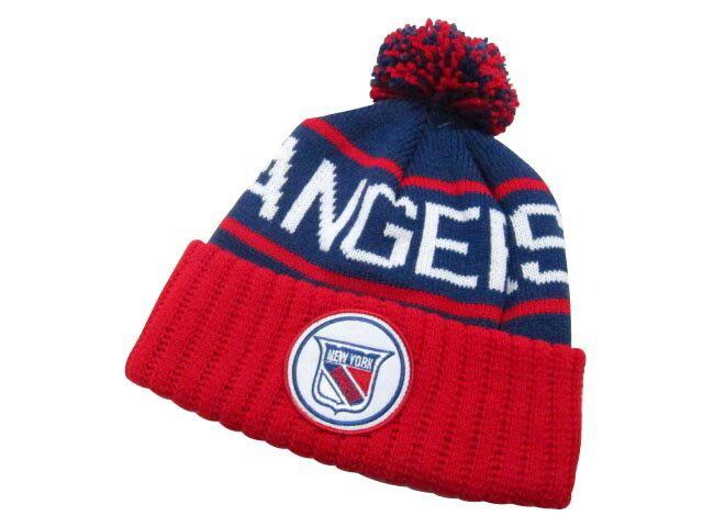 MITCHELL&NESS High 5 Cuffed Pom Knit Cap (NHL/New York Rangers: Blue×Red)ミッチェル&ネス/ニットキャップ/青×赤