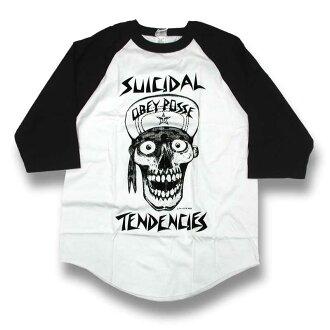 OBEY(obei)SUICIDAL TENDENCIES FLIP CAP SKULL 3/4 T-Shirt(suisaidaru·tendenshizu、7分袖T恤)