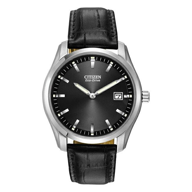 【ソーラー】CITIZEN ECO-DRIVE シチズン エコドライブ AU1040-08E 腕時計 メンズ 逆輸入 アナログ シルバー ブラック 黒 レザー 革ベルト 海外モデル