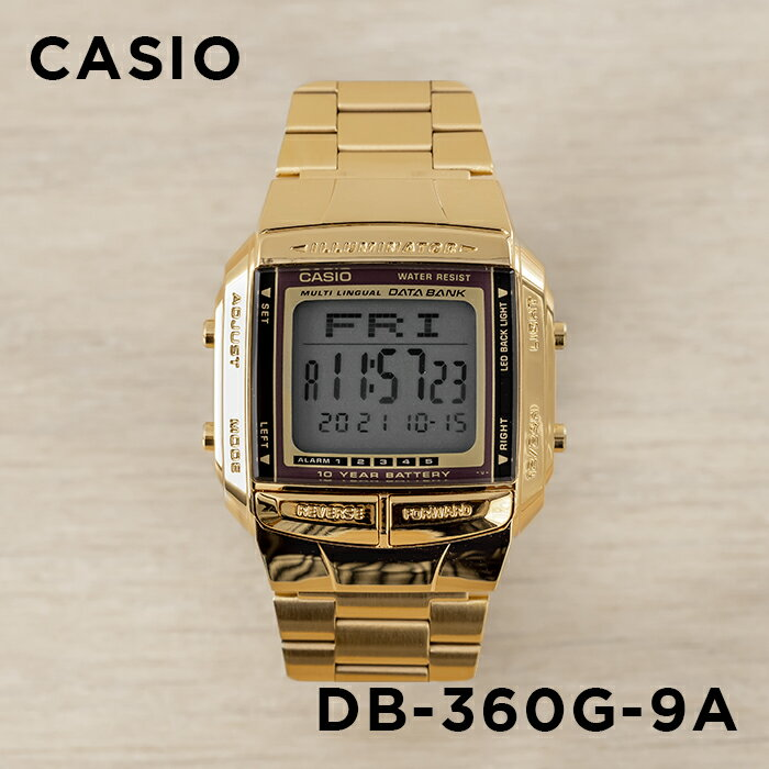 CASIO DATA BANK カシオ データバンク DB-360G-9A 腕時計 メンズ レディース デジタル ゴールド 金 ブラック 黒