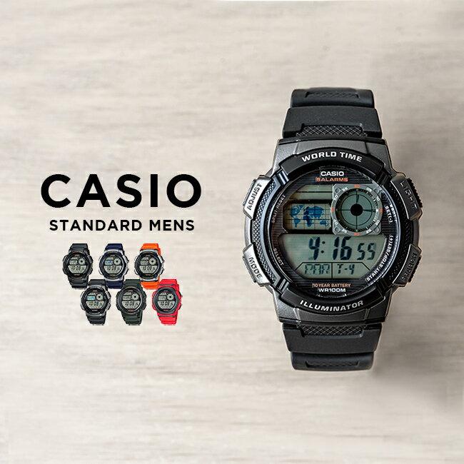 CASIO STANDARD DIGITAL カシオ スタンダード デジタル AE-1000W SERIES 腕時計 メンズ レディース チープカシオ チプカシ プチプラ 防水 ブラック 黒 ゴールド 金 ネイビー カーキ レッド 赤 オレンジ AE-1000W-1A AE-1000W-1A3 AE-1000W-4B