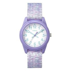 【日本未発売】TIMEX タイメックス キッズ アナログ 32MM TW7C12200 腕時計 子供 男の子 女の子 アナログ パープル 紫 ホワイト 白 ナイロンベルト 海外モデル