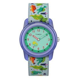 【日本未発売】TIMEX タイメックス キッズ アナログ 29MM TW7C77300 腕時計 子供 男の子 女の子 ブルー 青 グリーン 緑 恐竜 ナイロンベルト 海外モデル