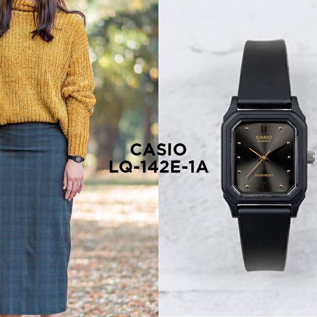 CASIO STANDARD ANALOGUE LADYS カシオ スタンダード アナログ レディース LQ-142E-1A 腕時計 チープカシオ チプカシ プチプラ ブラック 黒 日本未発売