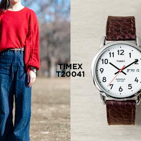 【日本未発売】TIMEX タイメックス イージーリーダー デイデイト 35MM T20041 腕時計 時計 ブランド メンズ レディース アナログ シルバー ホワイト 白 レザー 革ベルト 海外モデル ギフト プレゼント