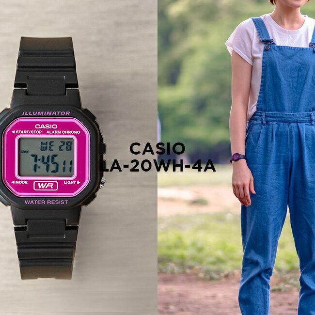 【10年保証】CASIO STANDARD DIGITAL LADYS カシオ スタンダード デジタル レディース LA-20WH-4A 腕時計 キッズ 子供用 女の子 チープカシオ チプカシ プチプラ ブラック 黒 ピンク 海外モデル
