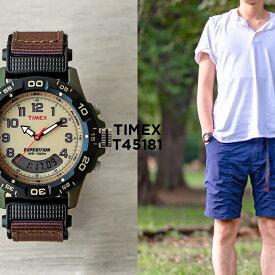 【日本未発売】TIMEX タイメックス エクスペディション 39MM T45181 腕時計 メンズ レディース ミリタリー アナデジ カーキ アイボリー ナイロンベルト 海外モデル