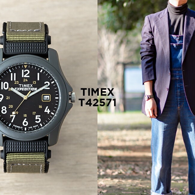 TIMEX EXPEDITION CAMPER 39MM タイメックス エクスペディション キャンパー 39MM T42571 腕時計 メンズ アウトドア アナログ グレー ブラック 黒 ナイロンベルト
