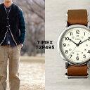 TIMEX タイメックス ウィークエンダー 40MM メンズ T2P495 腕時計 レディース アナログ ブラウン 茶 アイボリー レザー 革ベルト