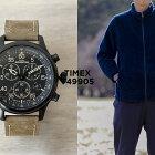 TIMEXタイメックスエクスペディションフィールドクロノグラフ43MMT49905腕時計メンズミリタリーアナログブラック黒ブラウン茶レザー革ベルト