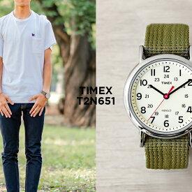 TIMEX タイメックス ウィークエンダー 38MM メンズ T2N651 腕時計 レディース ミリタリー アナログ カーキ アイボリー ナイロンベルト
