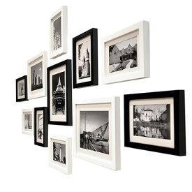壁掛けウッドフォトフレーム 木製フォトフレーム 11個セット (ブラック/ホワイト ミックス)