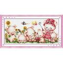 クロスステッチ 刺繍キット HAPPY PIG'S FAMILY クロスステッチキット クロスステッチ ししゅう糸 刺繍糸 刺繍針 刺繍…