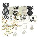 クロスステッチ 刺繍キット love six cats キット 初心者 楽天 ねこ 猫 猫柄 刺繍(DMC 刺繍糸)クロスステッチキット…