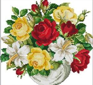 ししゅう糸 クロスステッチ刺繍キット 布地に図柄印刷 花瓶3