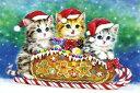 クロスステッチ刺繍キット 図柄印刷 クリスマス ねこサンタ クロスステッチキット クロスステッチ ししゅう糸 刺繍糸 …
