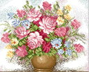 グラスビーズ グラスビーズ刺繍キット 図柄印刷布 薔薇花瓶B