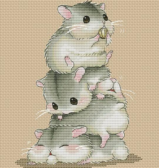 ししゅう糸 DMC糸 クロスステッチ刺繍キット 14CT 図案印刷なし ハムスター