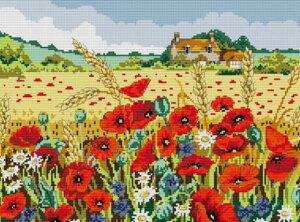 ししゅう糸 クロスステッチ刺繍キット 布地に図柄印刷 花咲く丘家