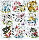 ししゅう糸 DMC糸 クロスステッチ刺繍キット I LOVE CATS