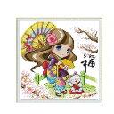 クロスステッチ 刺繍キット 番傘少女と招き猫 (DMC刺繍糸) HD9191H