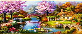 クロスステッチ刺繍キット 庭園池 図柄印刷
