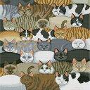 ししゅう糸 クロスステッチ刺繍キット 布地に図柄印刷 猫集団